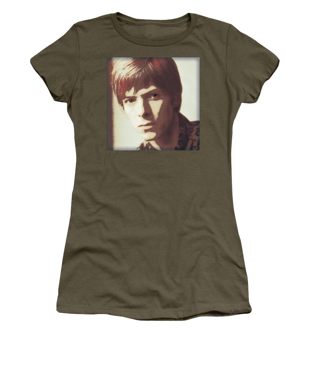 Bowie Women's T-Shirt featuring the digital art Young Bowie Pop Art by Daniel Hagerman