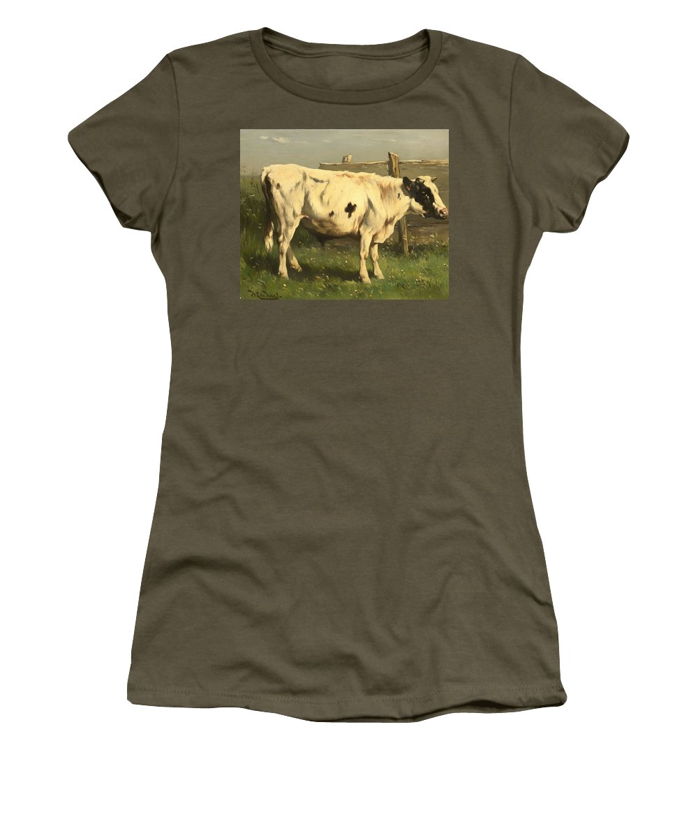 Bull Women's T-Shirt featuring the painting Young Bull by Mountain Dreams