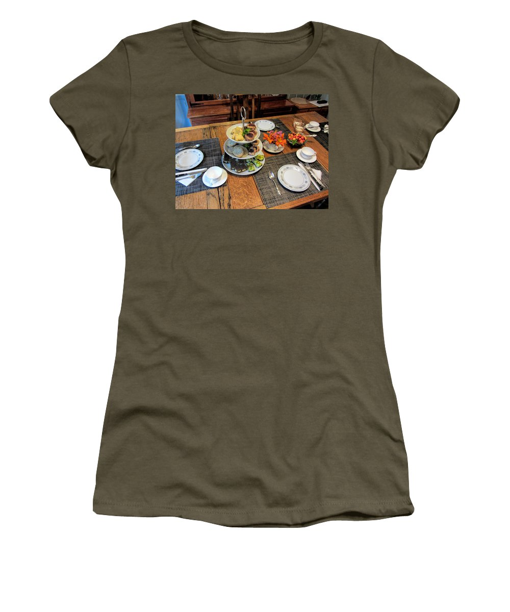 Tea Party Women's T-Shirt (Athletic Fit) featuring the photograph Your Invited To A Tea Party by Kathy Clark