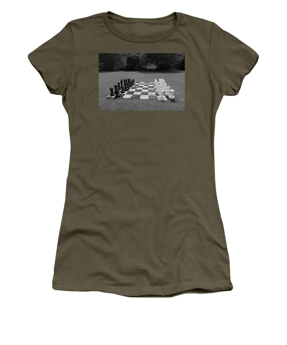 Black And White Women's T-Shirt (Athletic Fit) featuring the photograph Your Move 1 by Denise Mazzocco