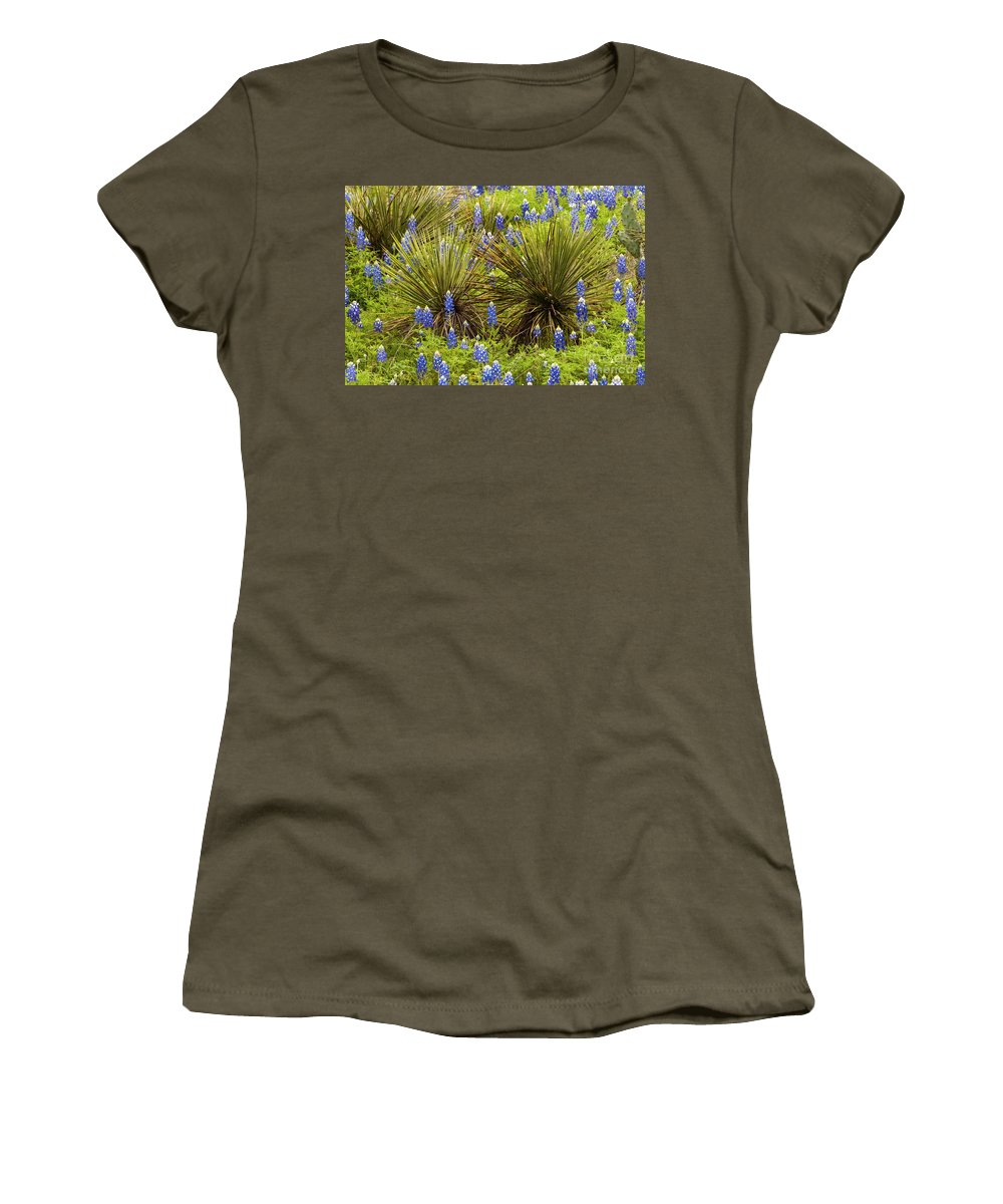 Praire Mountain Texas Wildflower Wildflowers Flowers Flower Plant Plants Yucca Yuccas Bluebonnet Bluebonnets Lupin Lupins Landscape Landscapes Spring Women's T-Shirt featuring the photograph Yucca With Bonnets by Bob Phillips