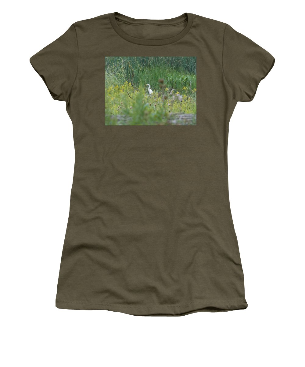 Nature Women's T-Shirt featuring the photograph Zen Egret by Zully Bartley