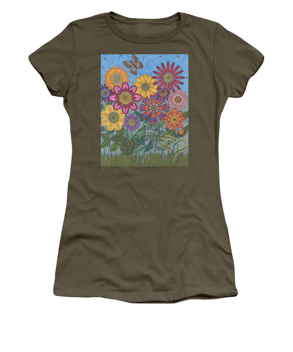 Garden Women's T-Shirt featuring the drawing Zen Garden by Pamela Schiermeyer