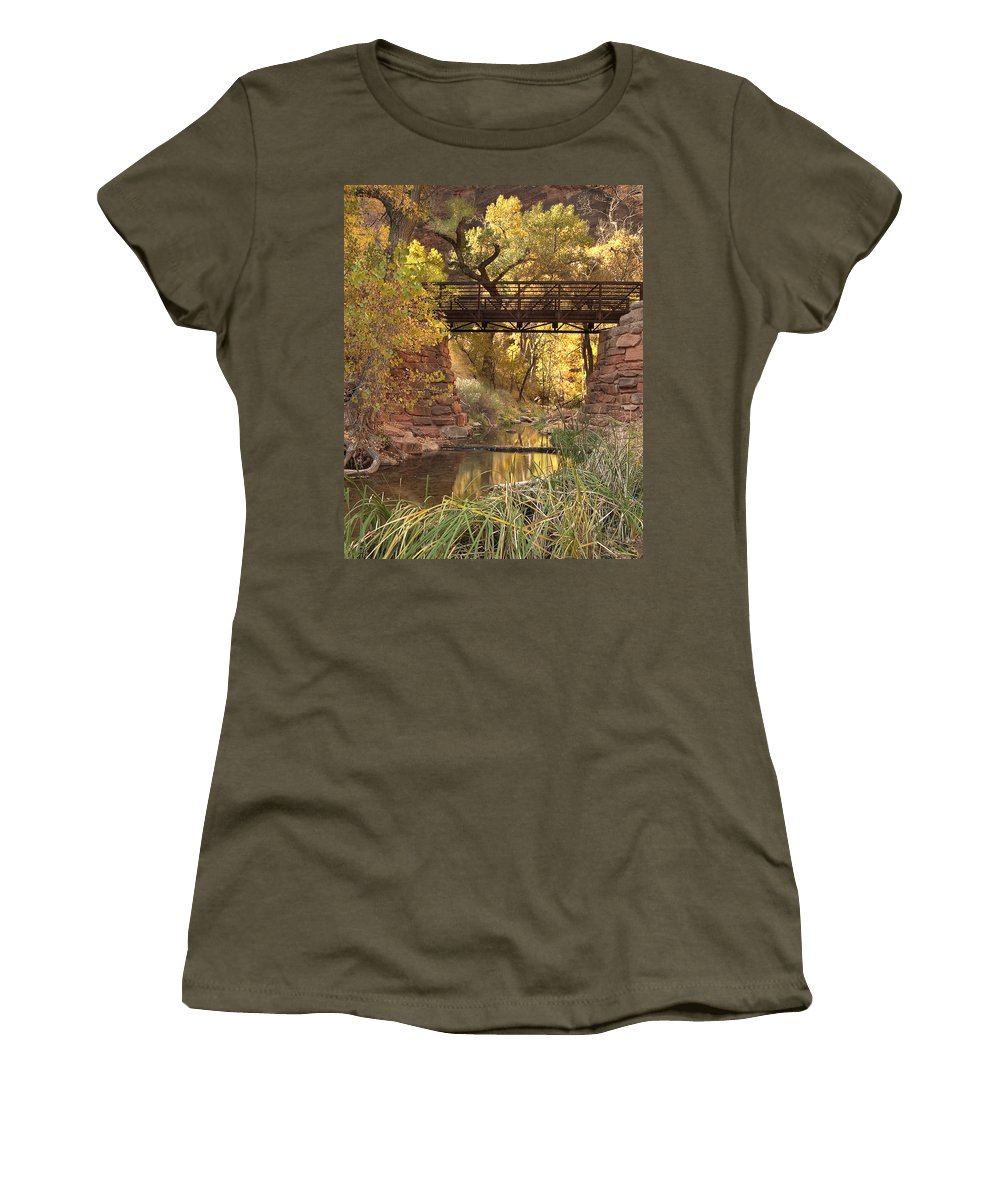 3scape Women's T-Shirt (Athletic Fit) featuring the photograph Zion Bridge by Adam Romanowicz