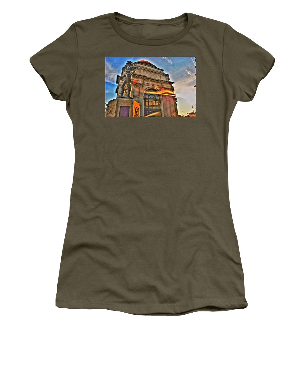 Women's T-Shirt featuring the photograph 006 The Hiker At Sunrise by Michael Frank Jr