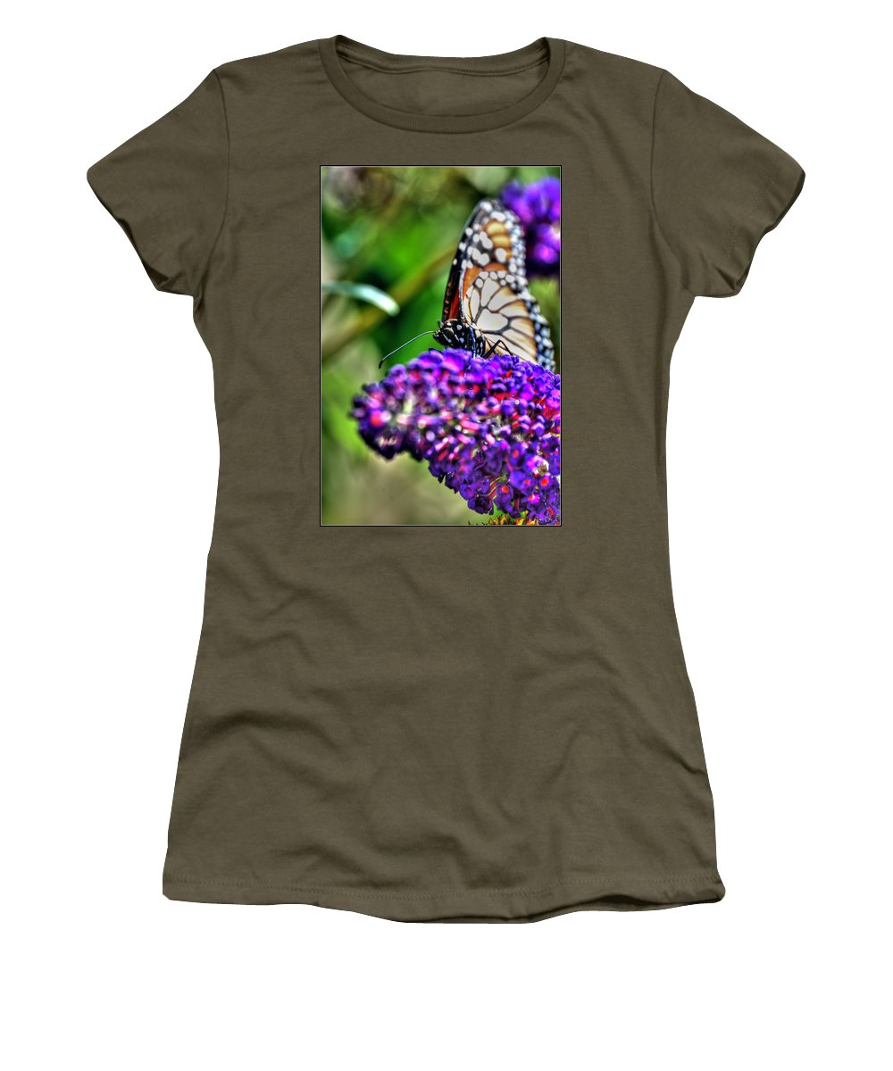 Women's T-Shirt featuring the photograph 012 Making Things New Via The Butterfly Series by Michael Frank Jr
