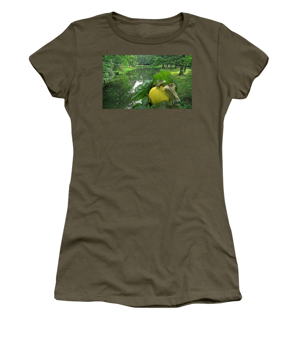 Apple Women's T-Shirt featuring the photograph Autumn Apple by Manfred Lutzius