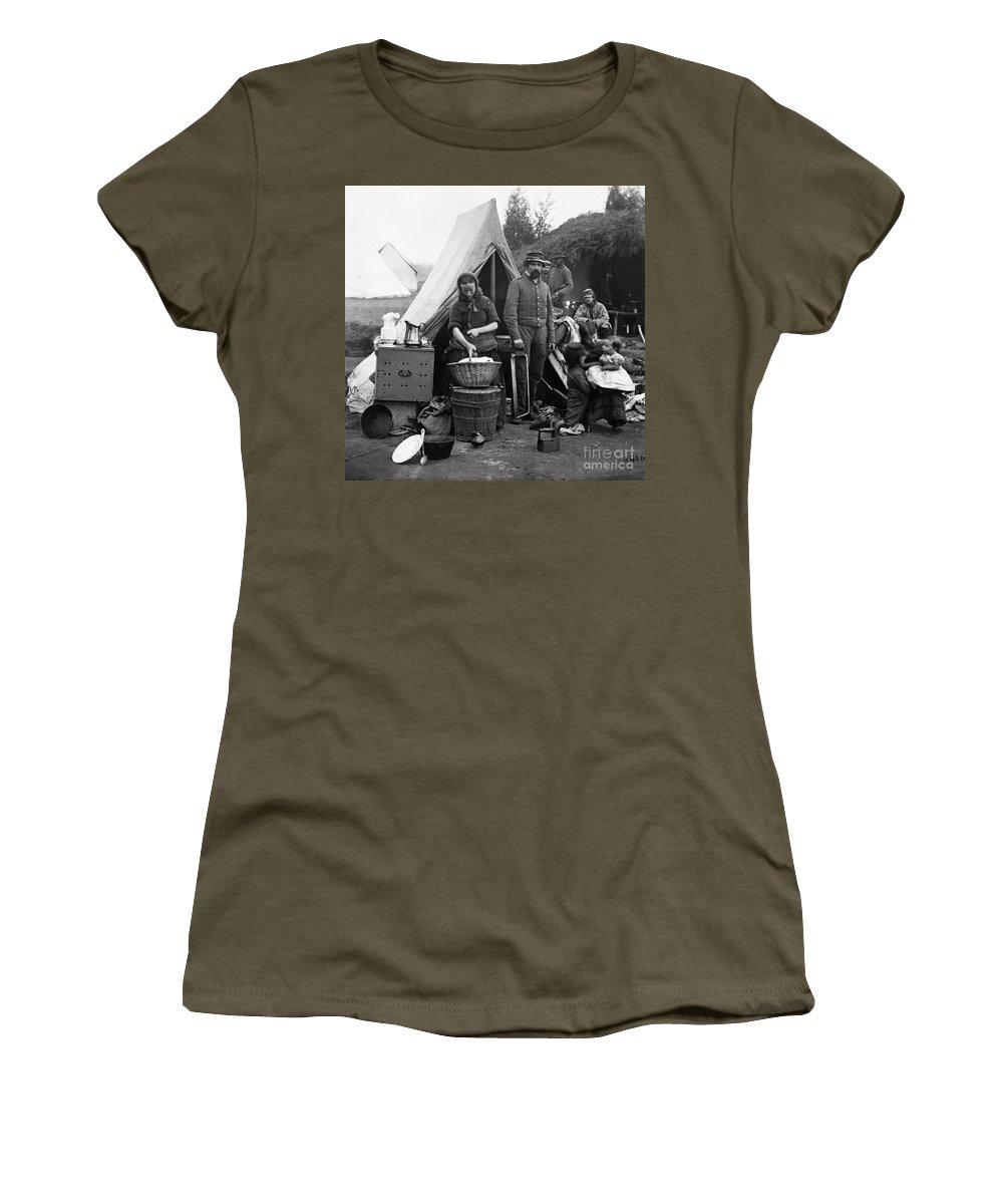 1861 Women's T-Shirt featuring the photograph Civil War: Camp Life, 1861 by Granger