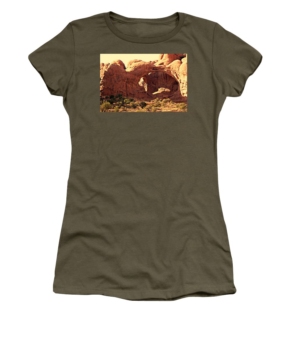 Arches National Park Women's T-Shirt (Athletic Fit) featuring the photograph Double Arch by Marty Koch