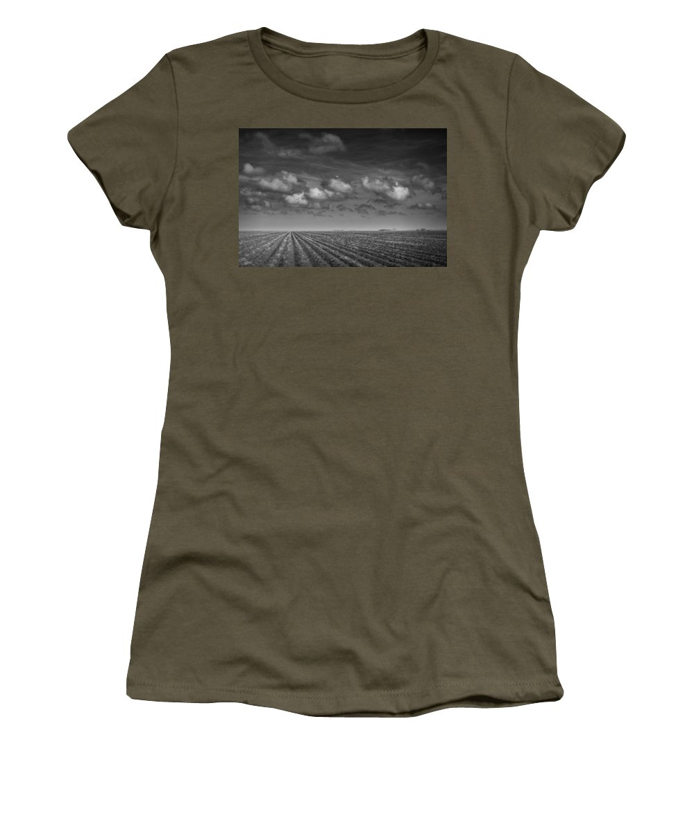 Field Women's T-Shirt featuring the photograph Field Furrows And Clouds In South East Texas by Randall Nyhof