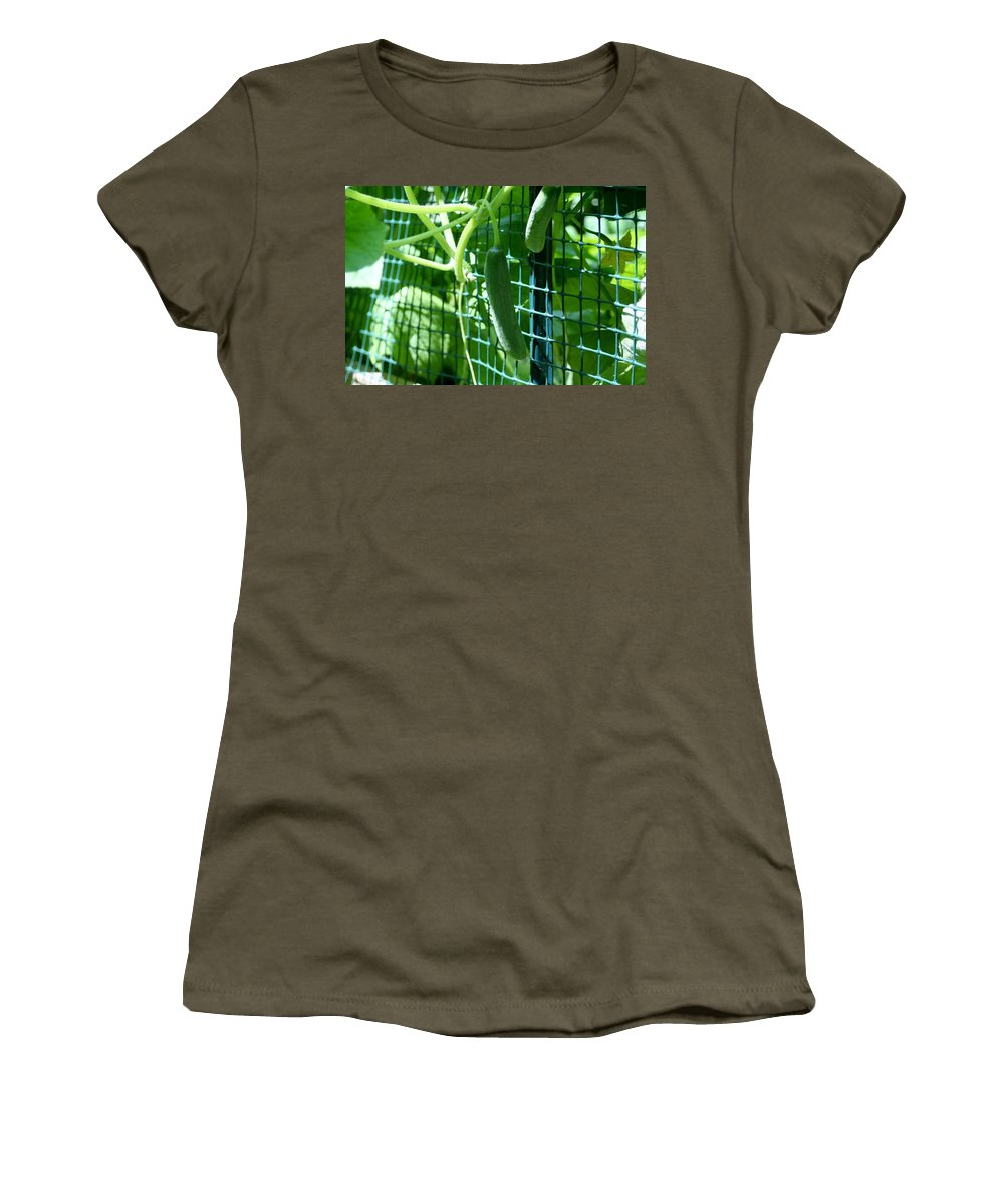 Cucumbers Women's T-Shirt featuring the photograph Hanging Cucumbers by Barbara S Nickerson