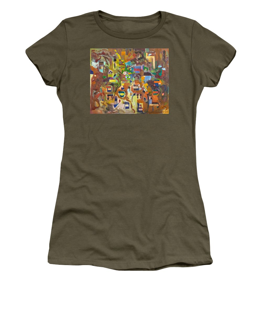 Torah Women's T-Shirt featuring the painting Holy Alphabet by David Baruch Wolk