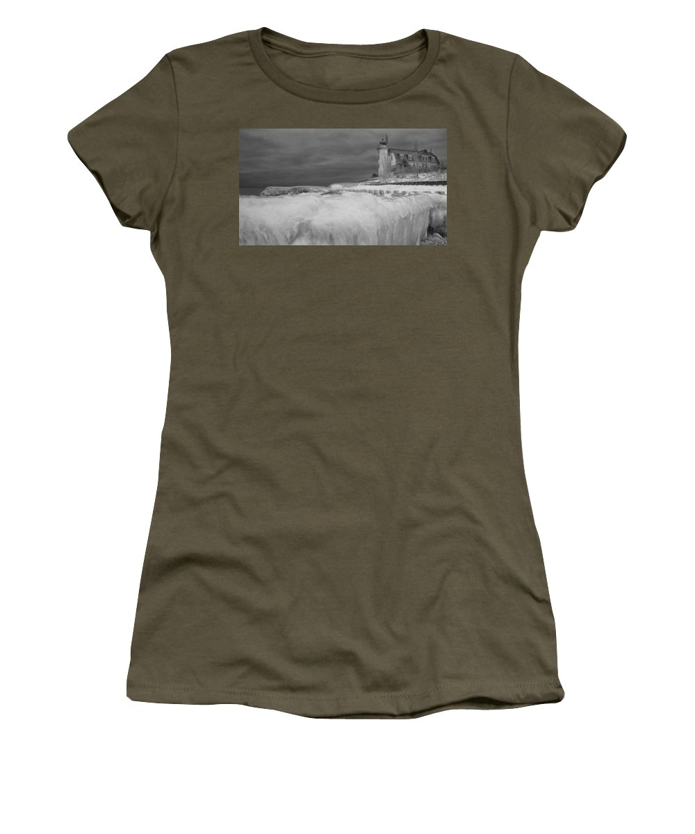 Art Women's T-Shirt featuring the photograph Point Betsie Lighthouse In Winter by Randall Nyhof
