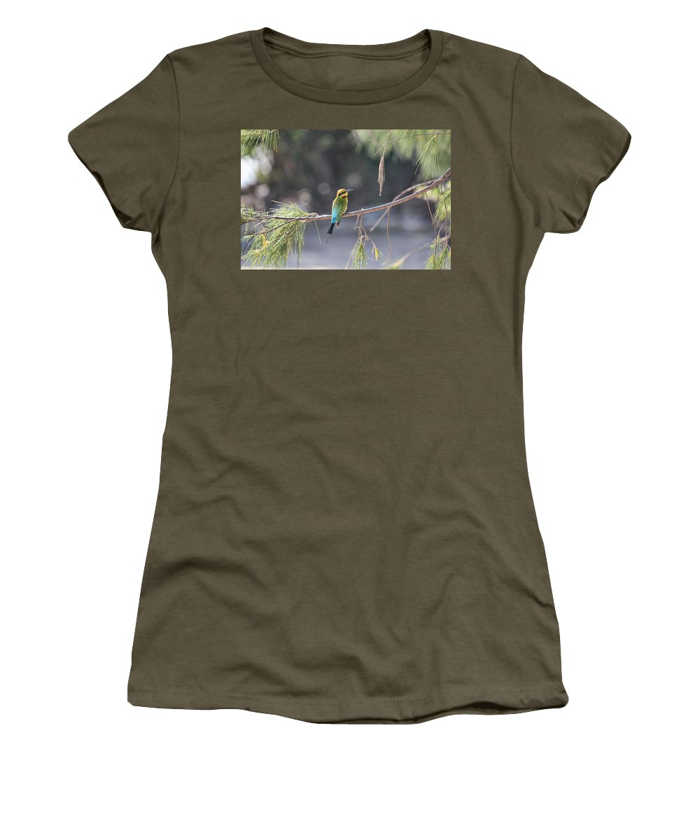 Rainbow Bee-eater Women's T-Shirt (Athletic Fit) featuring the photograph Rainbow Bee-eater V4 by Douglas Barnard