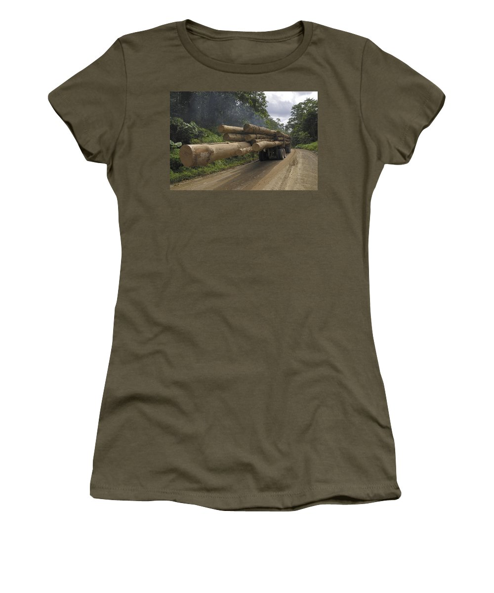 Mp Women's T-Shirt featuring the photograph Truck With Timber From A Logging Area by Thomas Marent