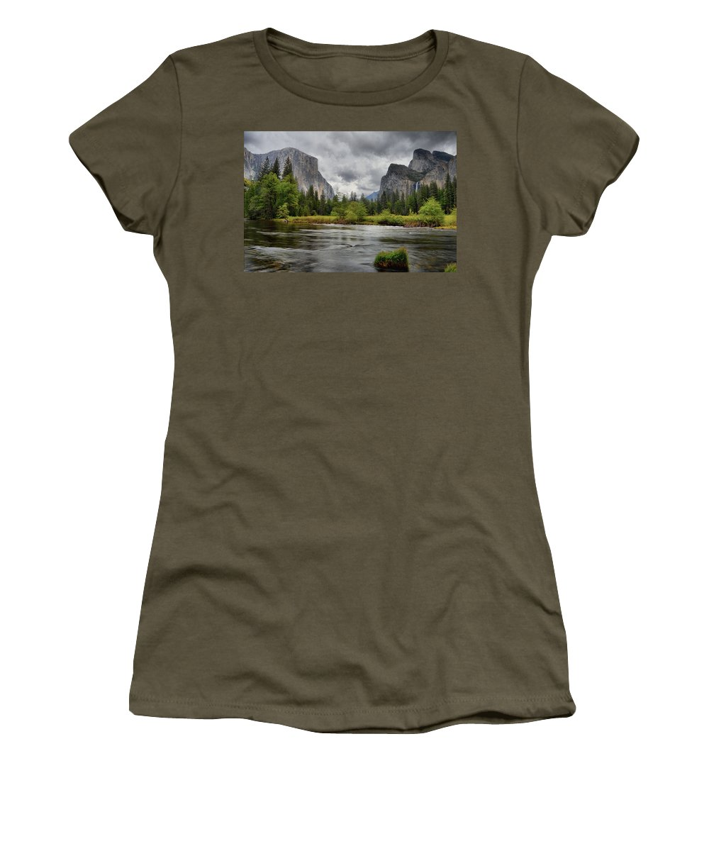 Yosemite Women's T-Shirt (Athletic Fit) featuring the photograph Yosemite's Valley View by Lynn Bauer