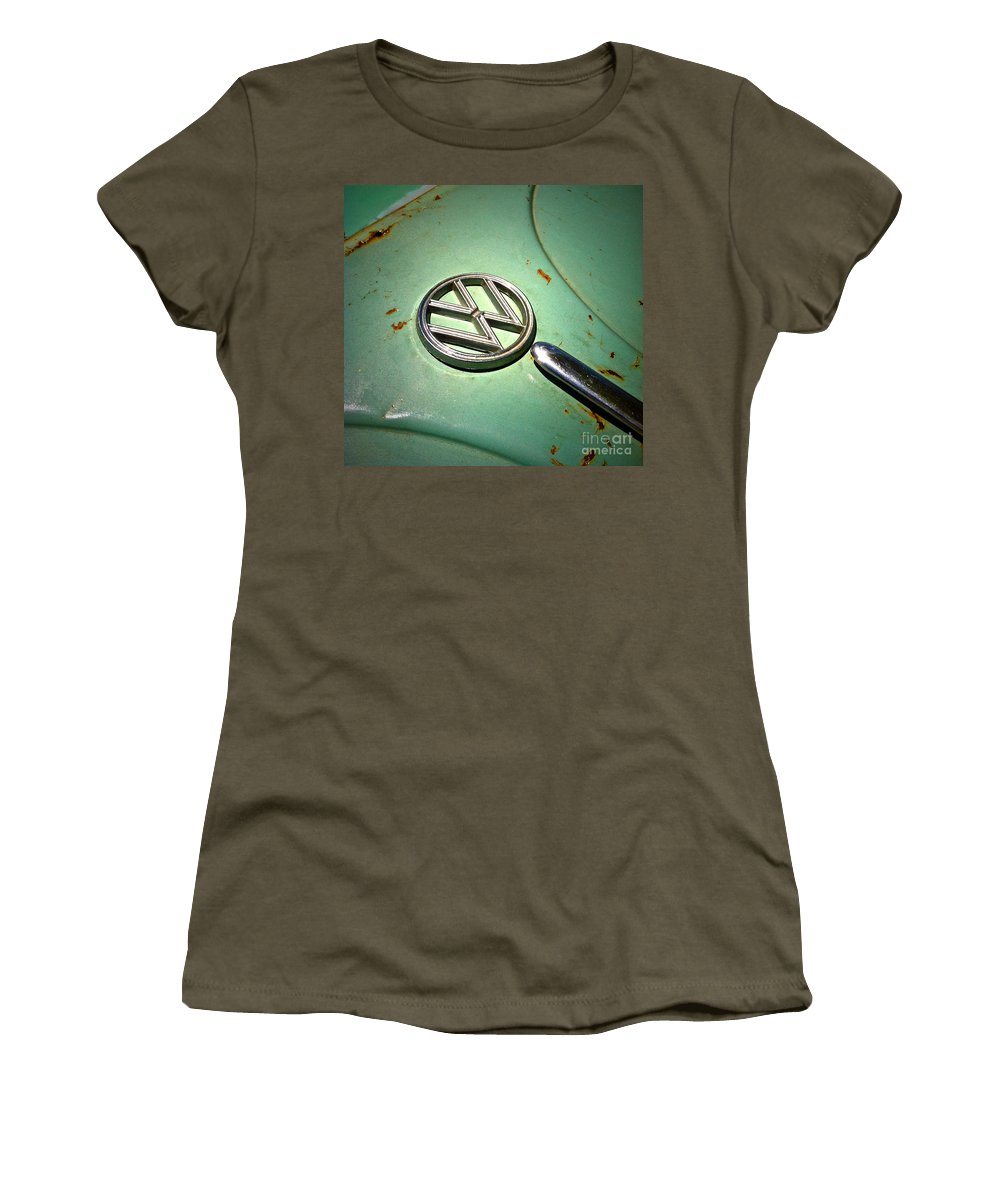 Volkswagon Women's T-Shirt featuring the photograph 1961 Green Vw by Gwyn Newcombe