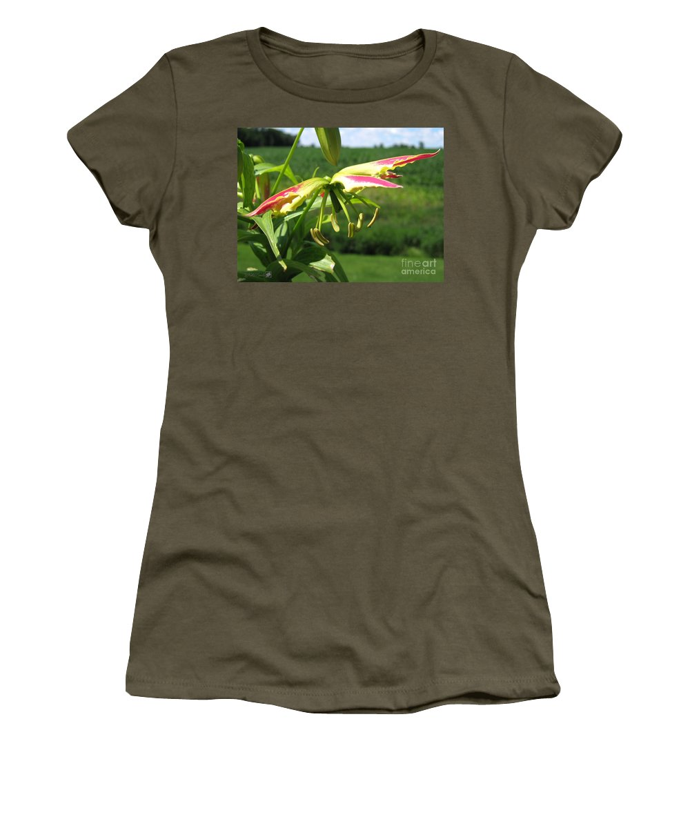Gloriosa Women's T-Shirt featuring the photograph Gloriosa Named Rothschildiana by J McCombie