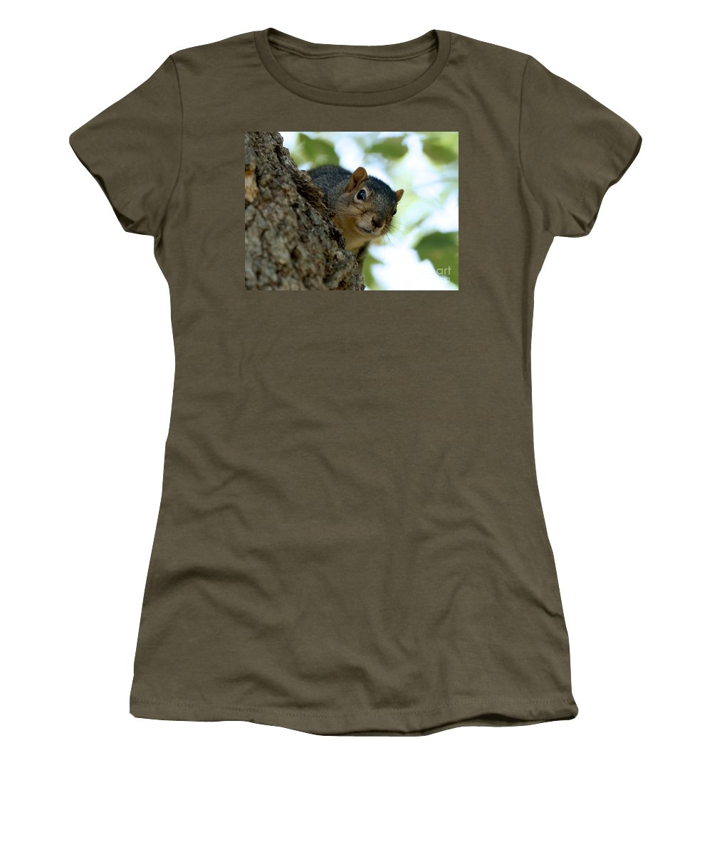 Squirrel Women's T-Shirt featuring the photograph Peak by Lori Tordsen