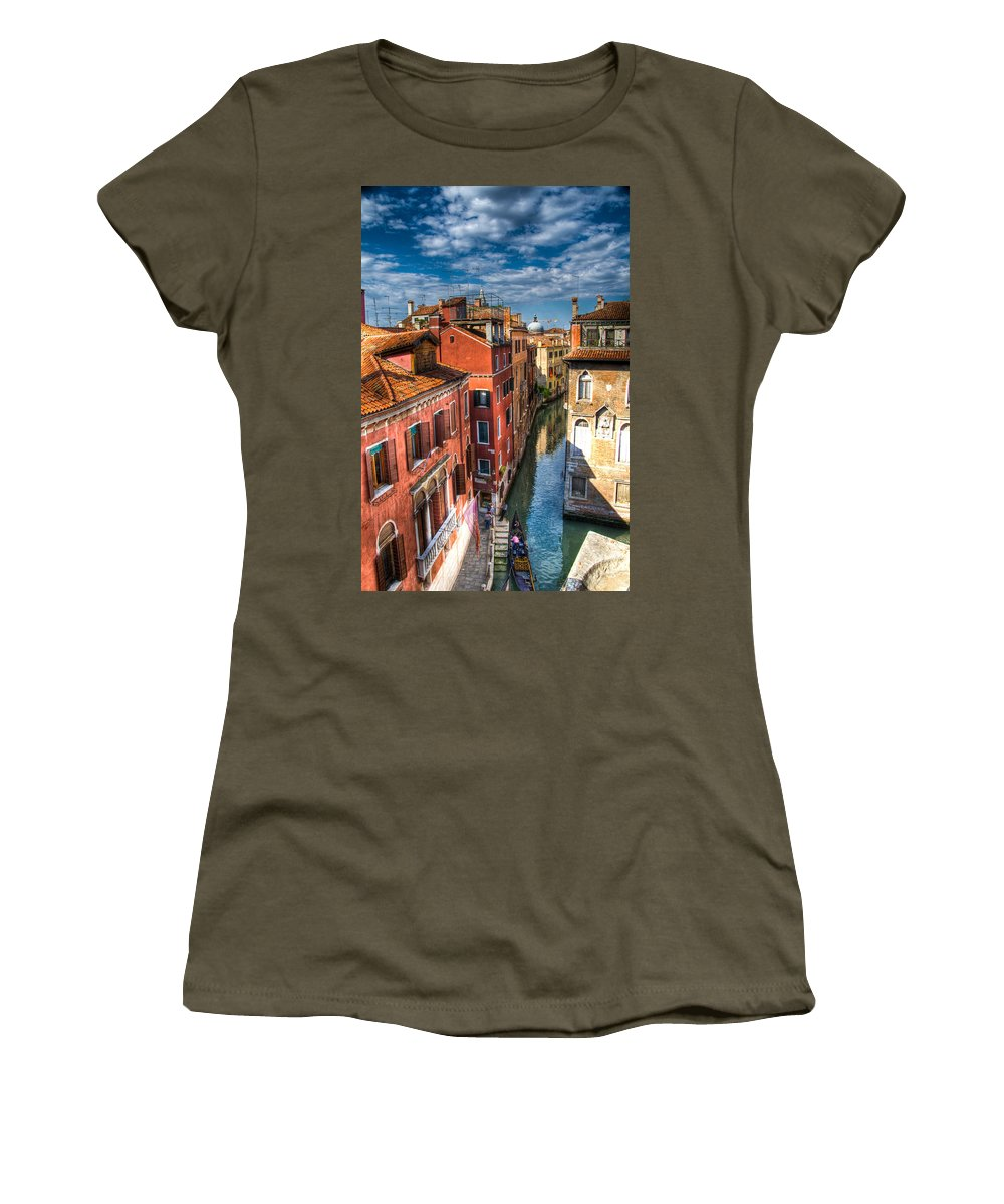 Venice Women's T-Shirt featuring the photograph Venice Canal by Jon Berghoff