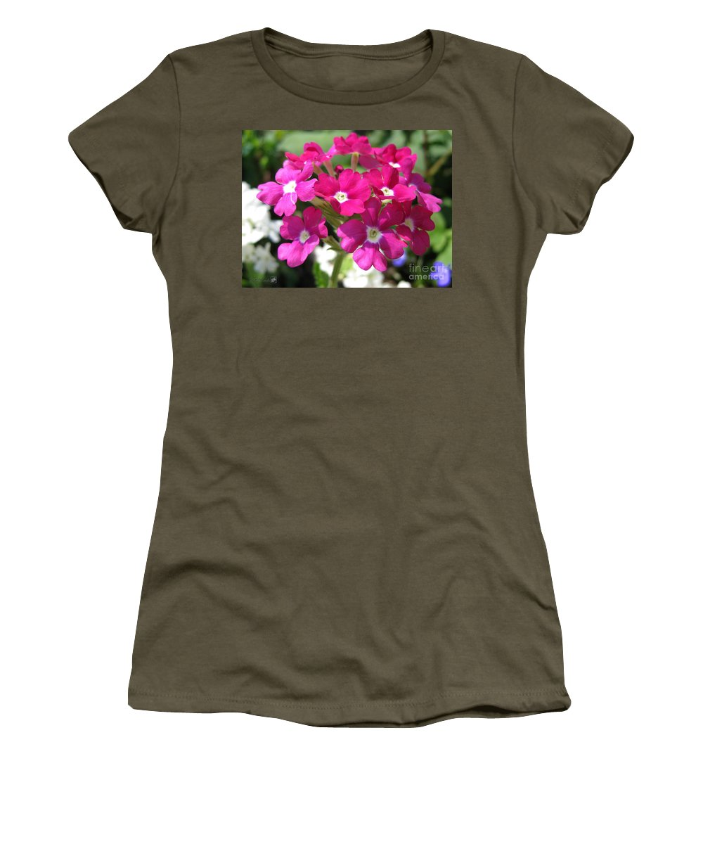 Verbena Women's T-Shirt featuring the photograph Verbena From The Ideal Florist Mix by J McCombie