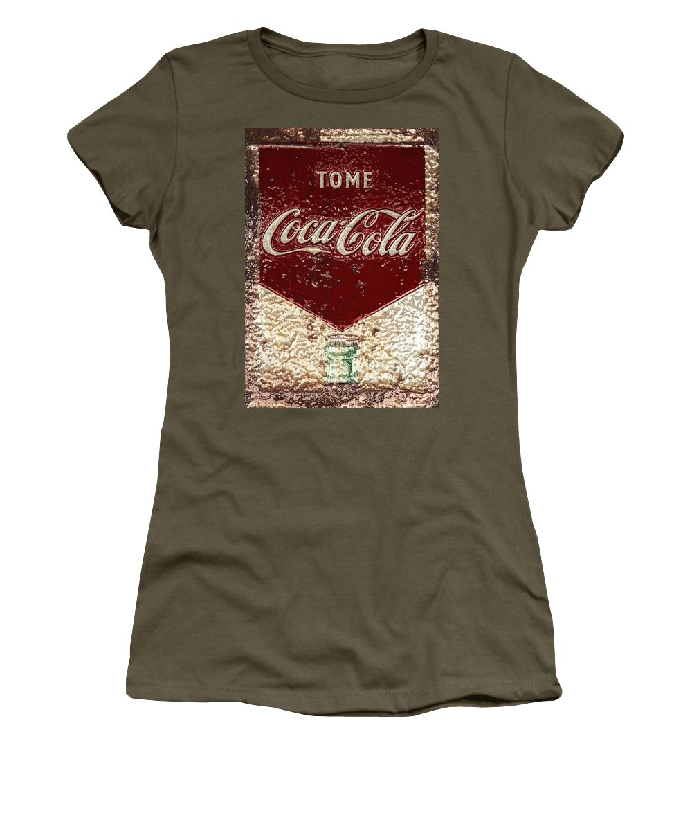 Coca Cola Women's T-Shirt (Athletic Fit) featuring the photograph Coca Cola Classic Vintage Rusty Sign by John Stephens