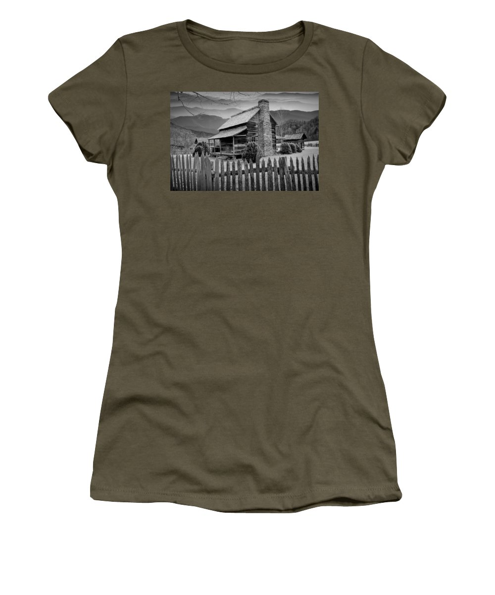 Art Women's T-Shirt featuring the photograph A Black And White Photograph Of An Appalachian Mountain Cabin by Randall Nyhof