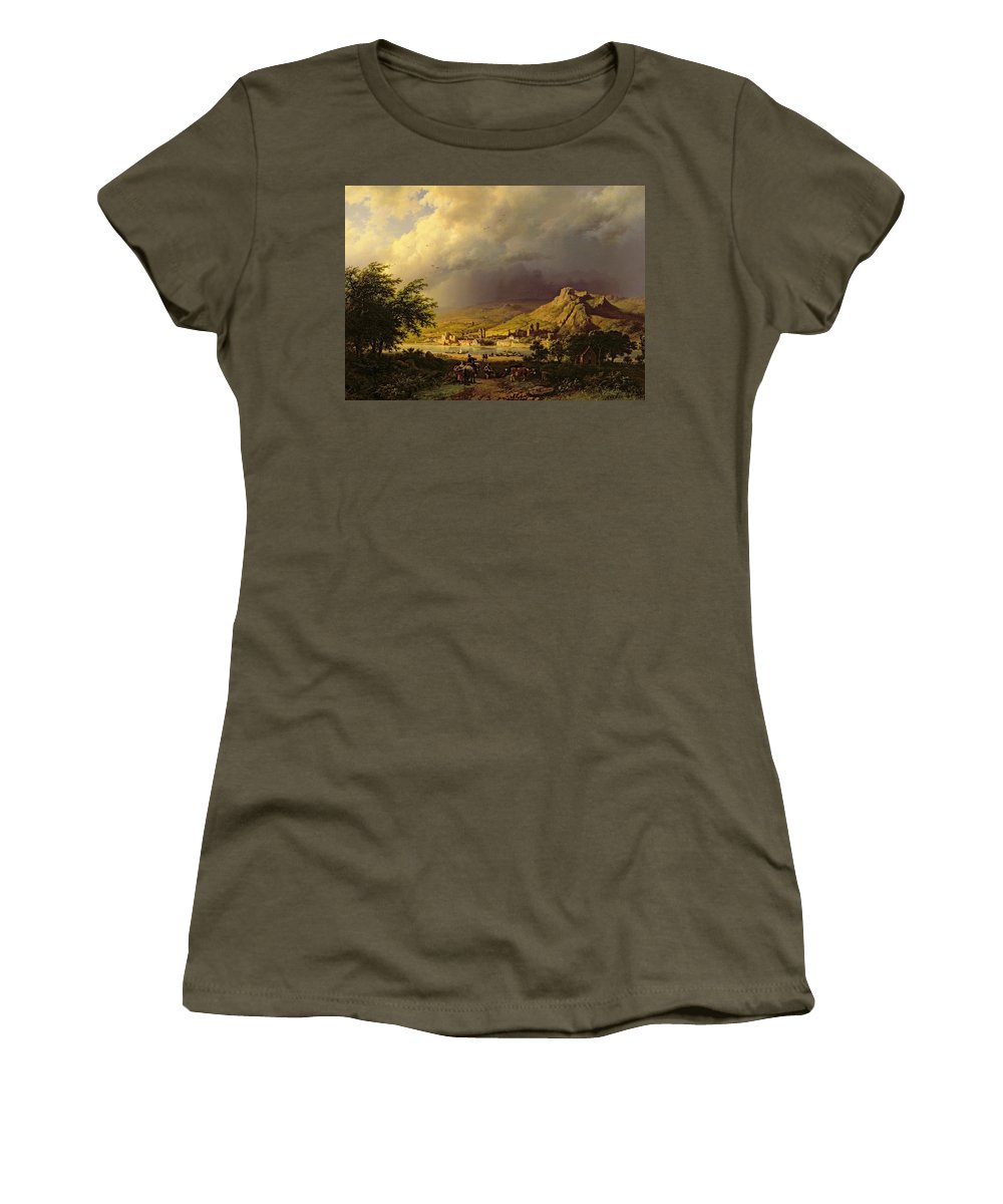 Landscape; Stormy; Weather; Mountain; Mountainous; River; Town; Riverbank; Cow; Horse; Storm Cloud; Tree; Trees Women's T-Shirt featuring the painting A Coming Storm by Barend Cornelis Koekkoek