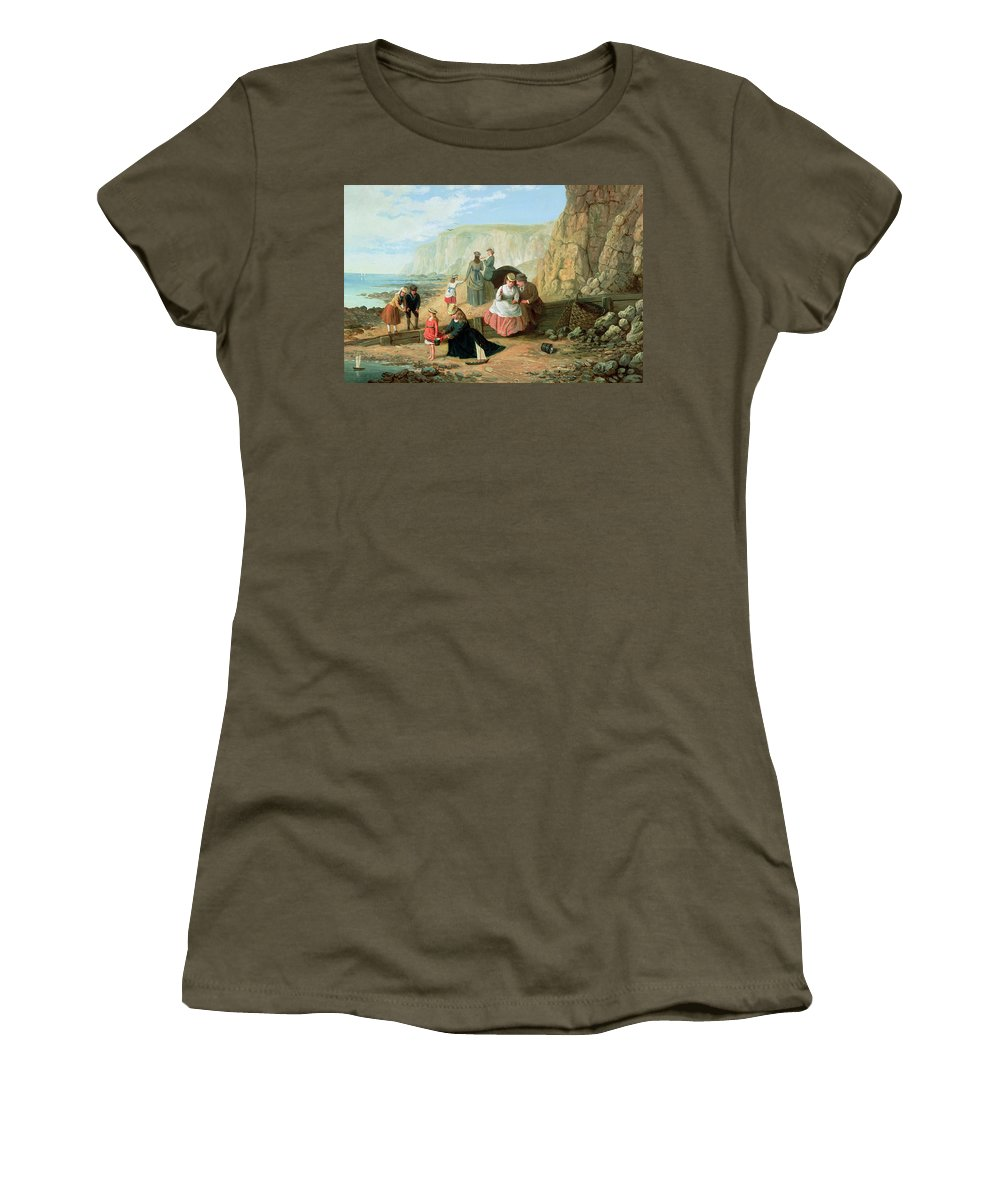 Cliff; Seashore; Cliffs; Summer; Holiday; Family; Lovers; Couple; Children; Spade; Toy; Boat; Sea; Sailor; Suit; Strolling; Pastime; Bucket; Playing; Digging; Telescope; Book; Parasol; Umbrella; Sunshade; Basket; Rocks; Sand Women's T-Shirt featuring the painting A Day At The Seaside by William Scott