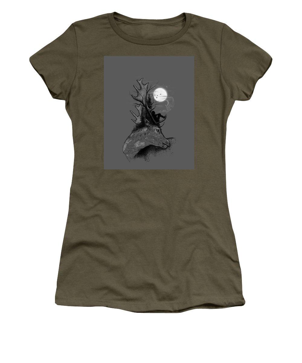 Deer Women's T-Shirt featuring the mixed media A Long December by Nicebleed