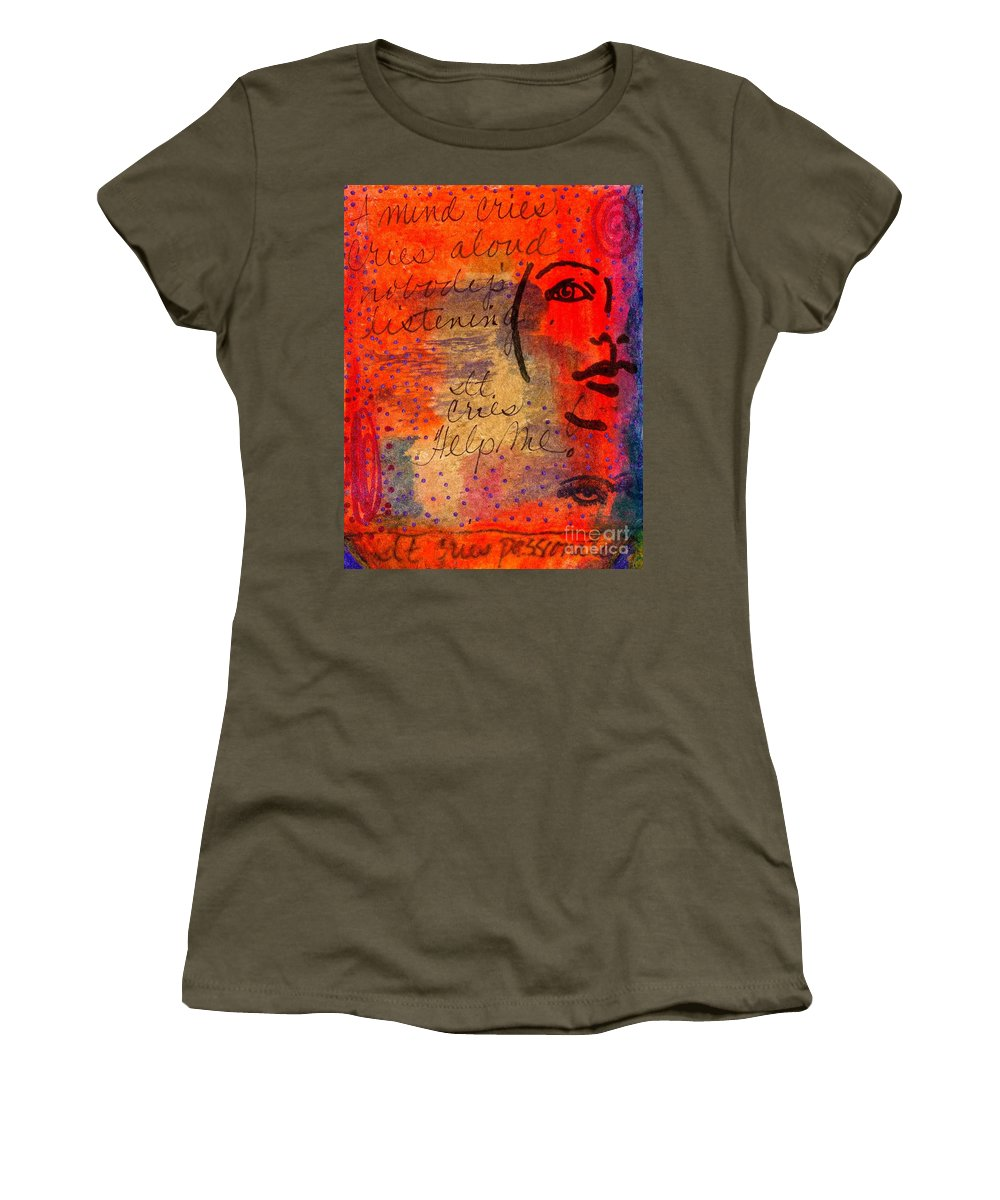 Woman Women's T-Shirt featuring the mixed media A Mind Cries by Angela L Walker