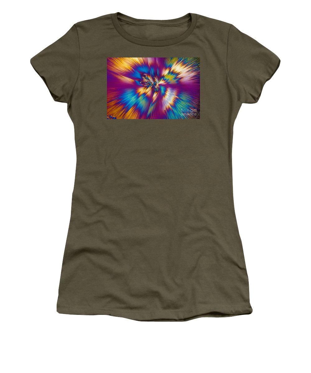 Tylenol Women's T-Shirt featuring the photograph Acetaminophen Crystals Tem by Michael W. Davidson