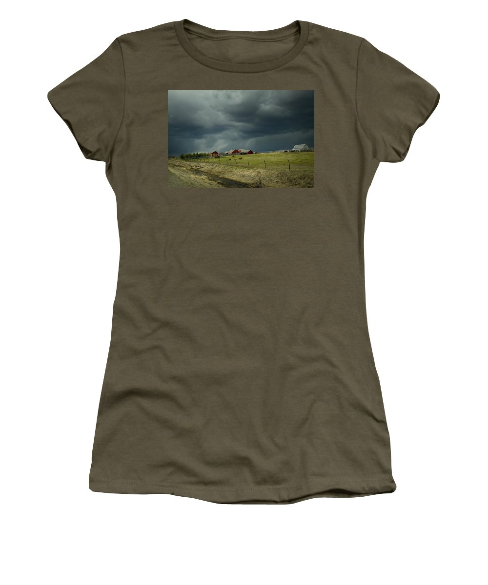 Alberta Women's T-Shirt (Athletic Fit) featuring the digital art Alberta Stormy Weather by Diane Dugas