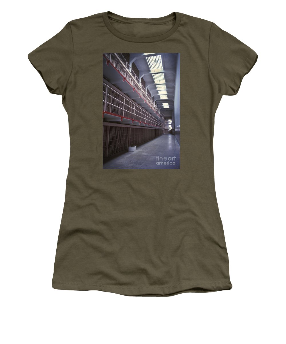 Alcatraz Women's T-Shirt featuring the photograph Alcatraz Cell Block by Paul W Faust - Impressions of Light