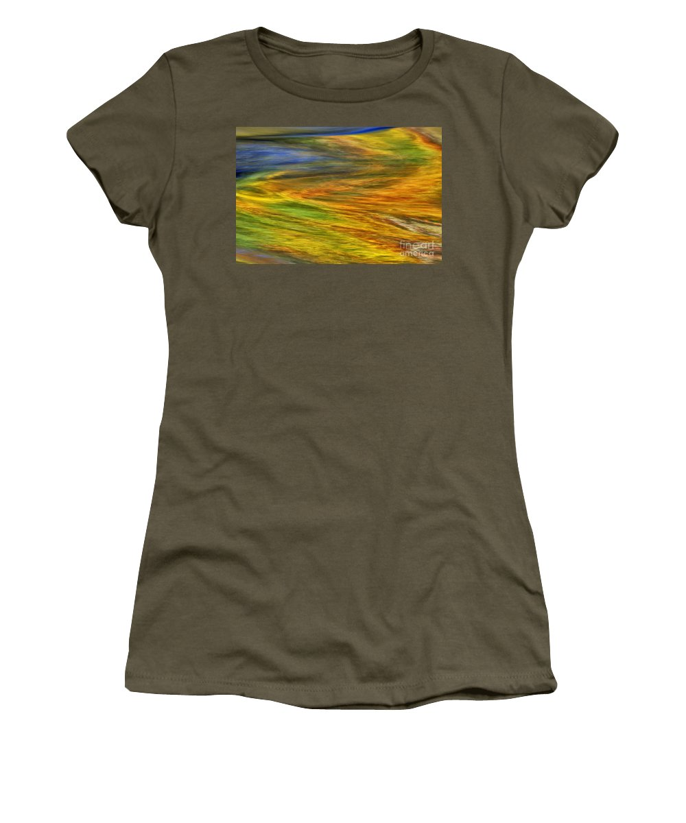 Abstract Women's T-Shirt featuring the photograph Autumn Reflections - D006078 by Daniel Dempster