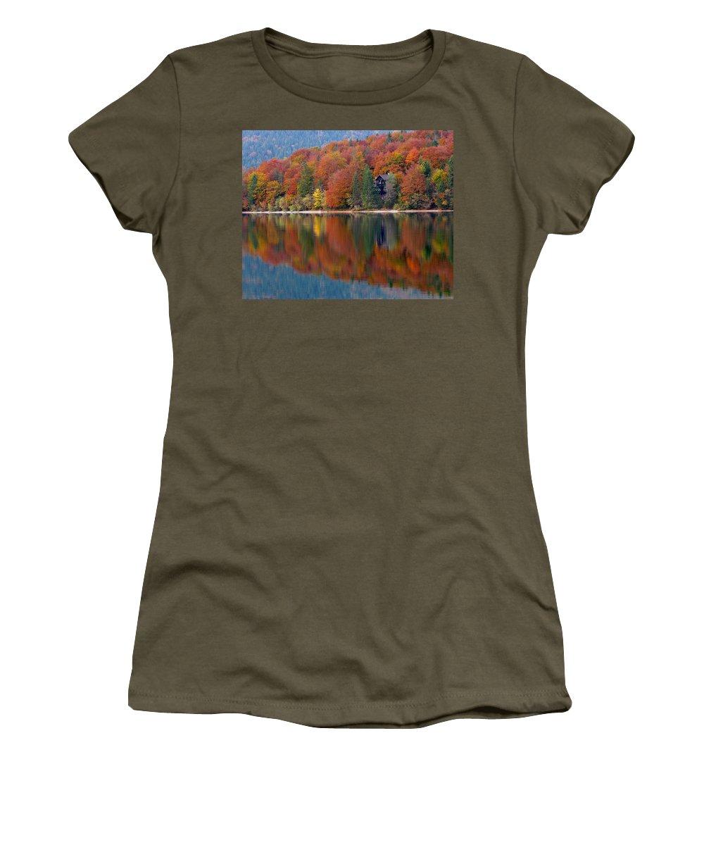 Lake Bohinj Women's T-Shirt featuring the photograph Autumn Reflections On Lake Bohinj In Slovenia by Greg Matchick