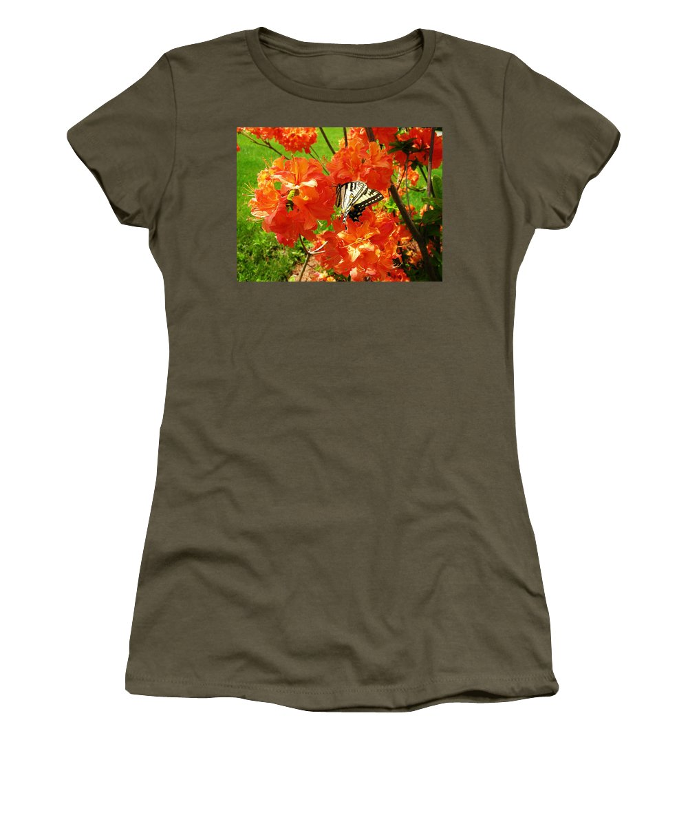 Orange Azalea Women's T-Shirt (Athletic Fit) featuring the photograph Azalea And Butterfly 1 by Sherman Perry