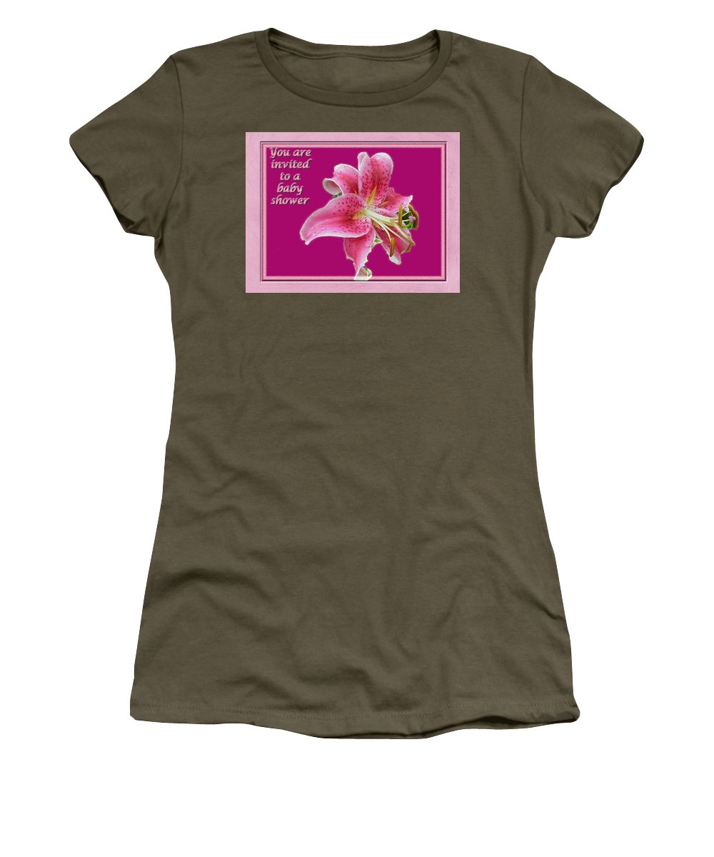 Baby Women's T-Shirt featuring the photograph Baby Shower Invitation - Pink Stargazer Lily by Mother Nature