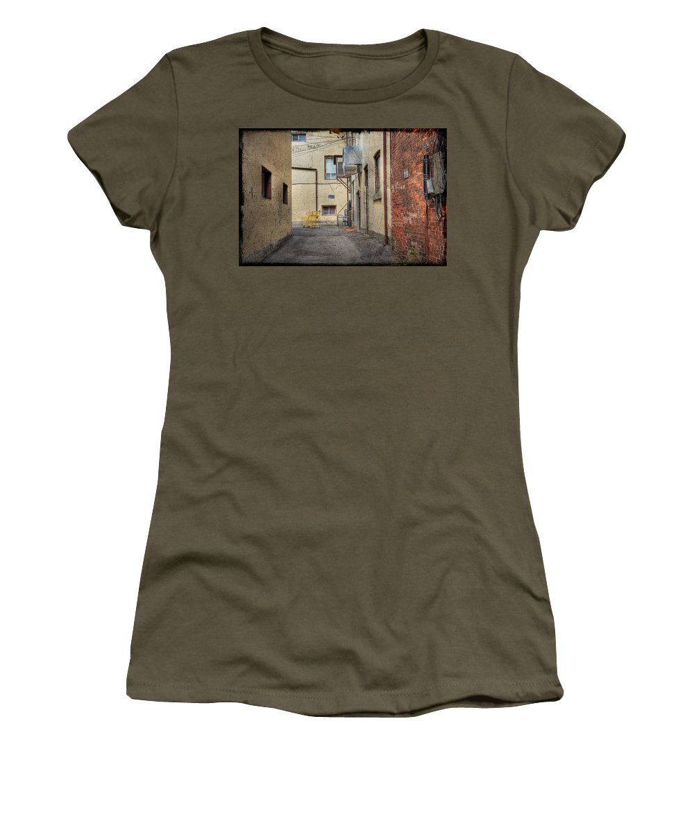 Acrylic Prints Women's T-Shirt featuring the photograph Back Alley Cityscape by John Herzog