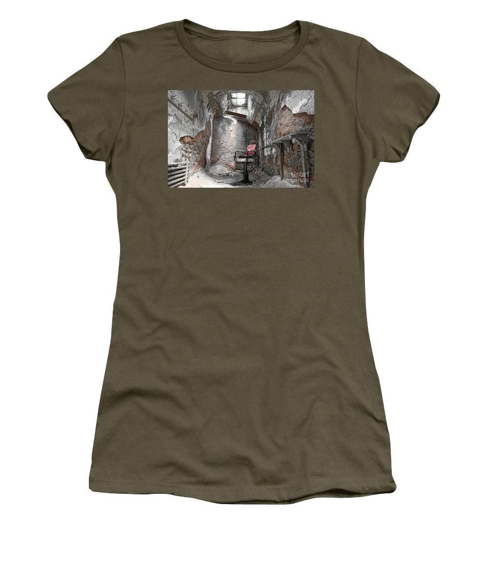 Eastern State Penitentiary Women's T-Shirt featuring the photograph Barber - Chair - Eastern State Penitentiary by Paul Ward