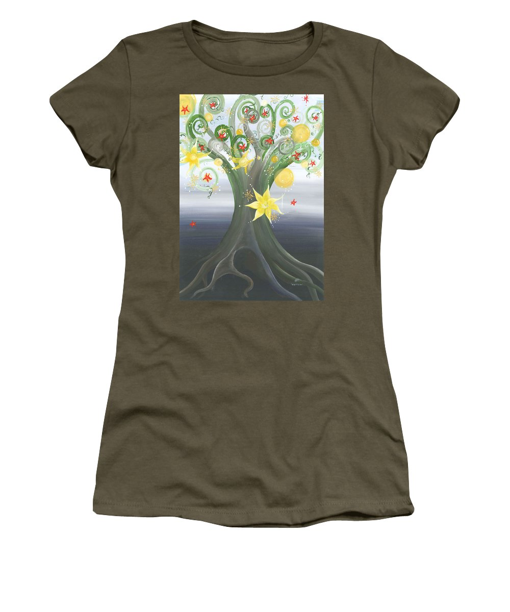 Spiritual Landscape Women's T-Shirt (Athletic Fit) featuring the painting Beautiful You by Catt Kyriacou