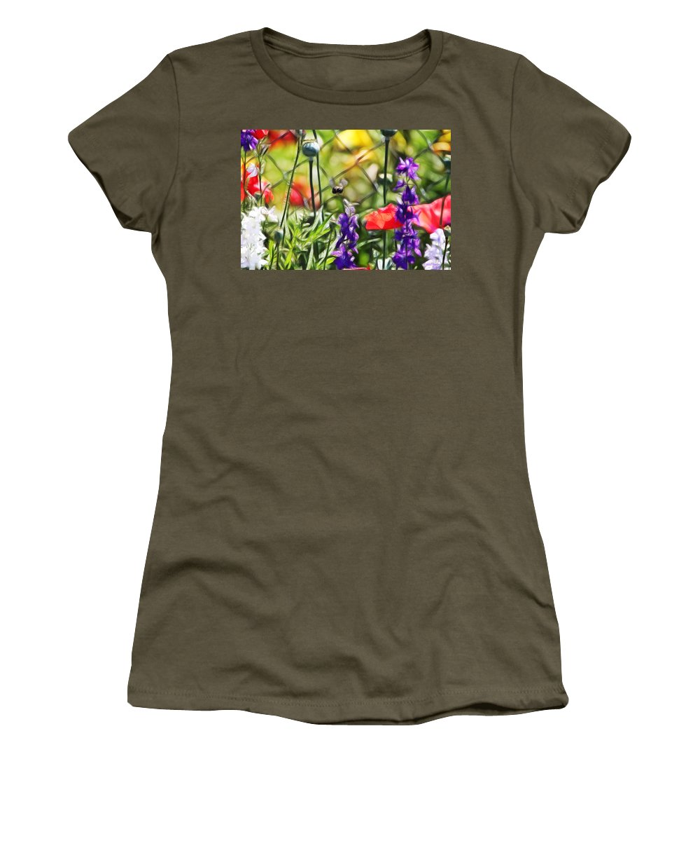 Tn Women's T-Shirt featuring the photograph Bee Right There by Ericamaxine Price