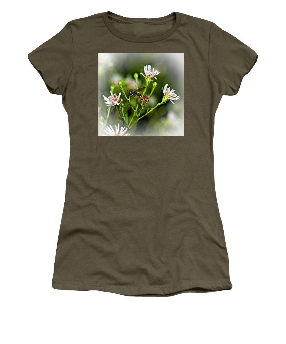 Flower Women's T-Shirt featuring the photograph Between Jobs Vignette by Steve Harrington
