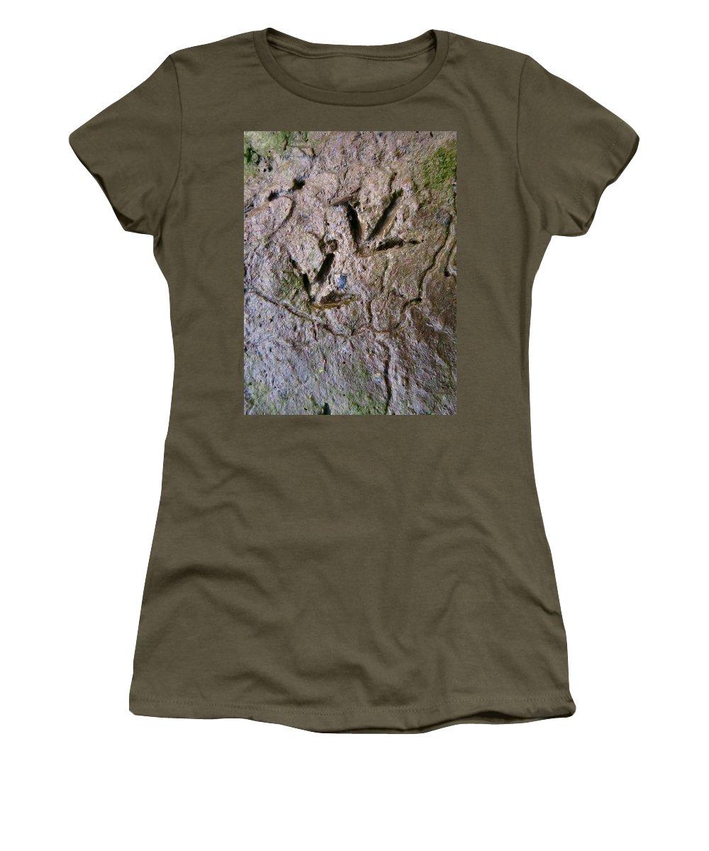 Mud Women's T-Shirt featuring the photograph Bird Tracks by Art Dingo
