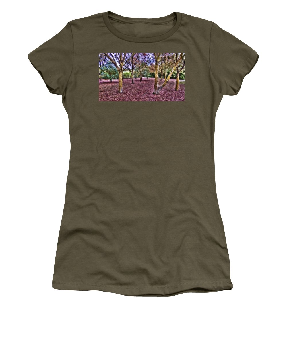 Blanket Women's T-Shirt (Athletic Fit) featuring the photograph Blanket Of Leaves by Douglas Barnard