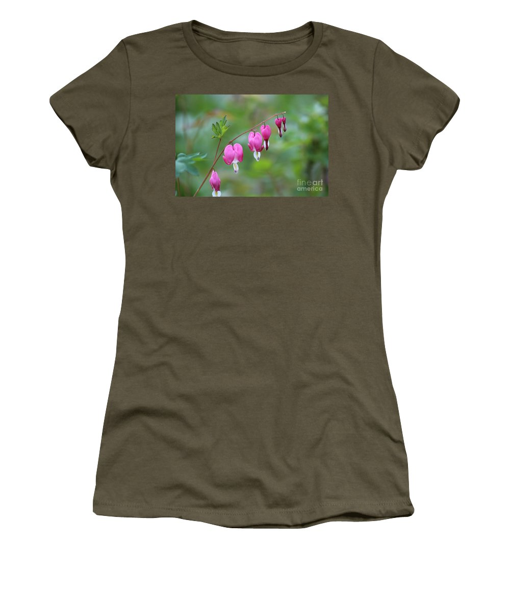 Bleeding Hearts Women's T-Shirt (Athletic Fit) featuring the photograph Bleeding Hearts by Stephanie Kripa