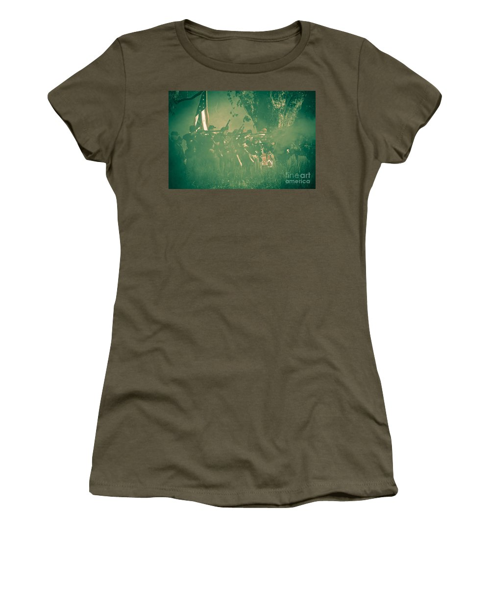 Reenactments Women's T-Shirt (Athletic Fit) featuring the mixed media Blue Coats Fire by Kim Henderson