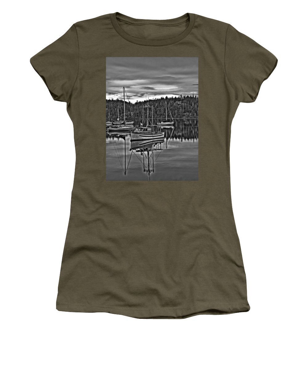 Sailboat Women's T-Shirt featuring the photograph Boating Reflections Mono by Derek Holzapfel