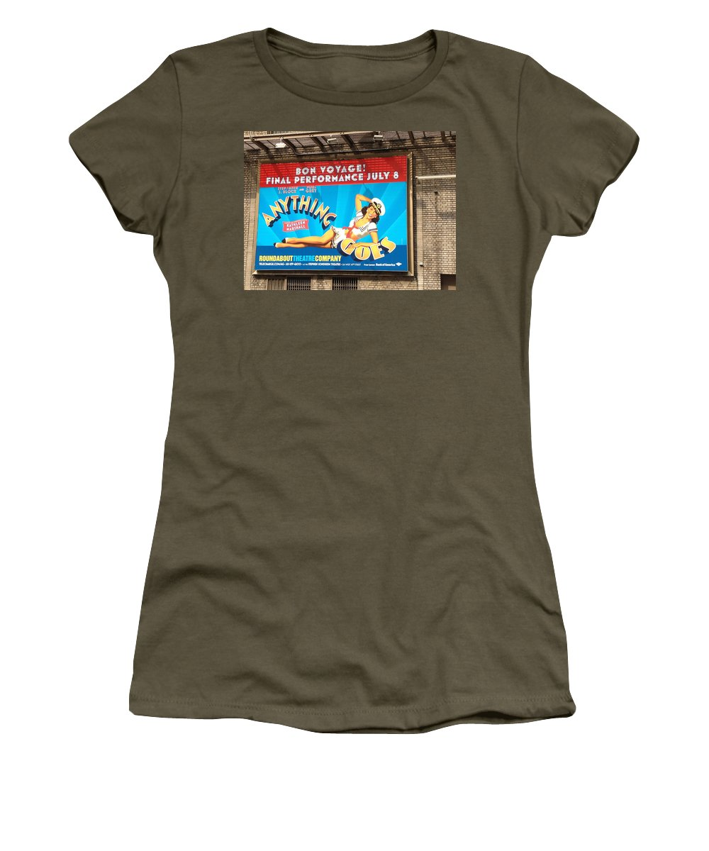 Anything Goes Bon Voyage July 8 Scenic Sign New York City Scene Women's T-Shirt featuring the photograph Bon Voyage by Alice Gipson