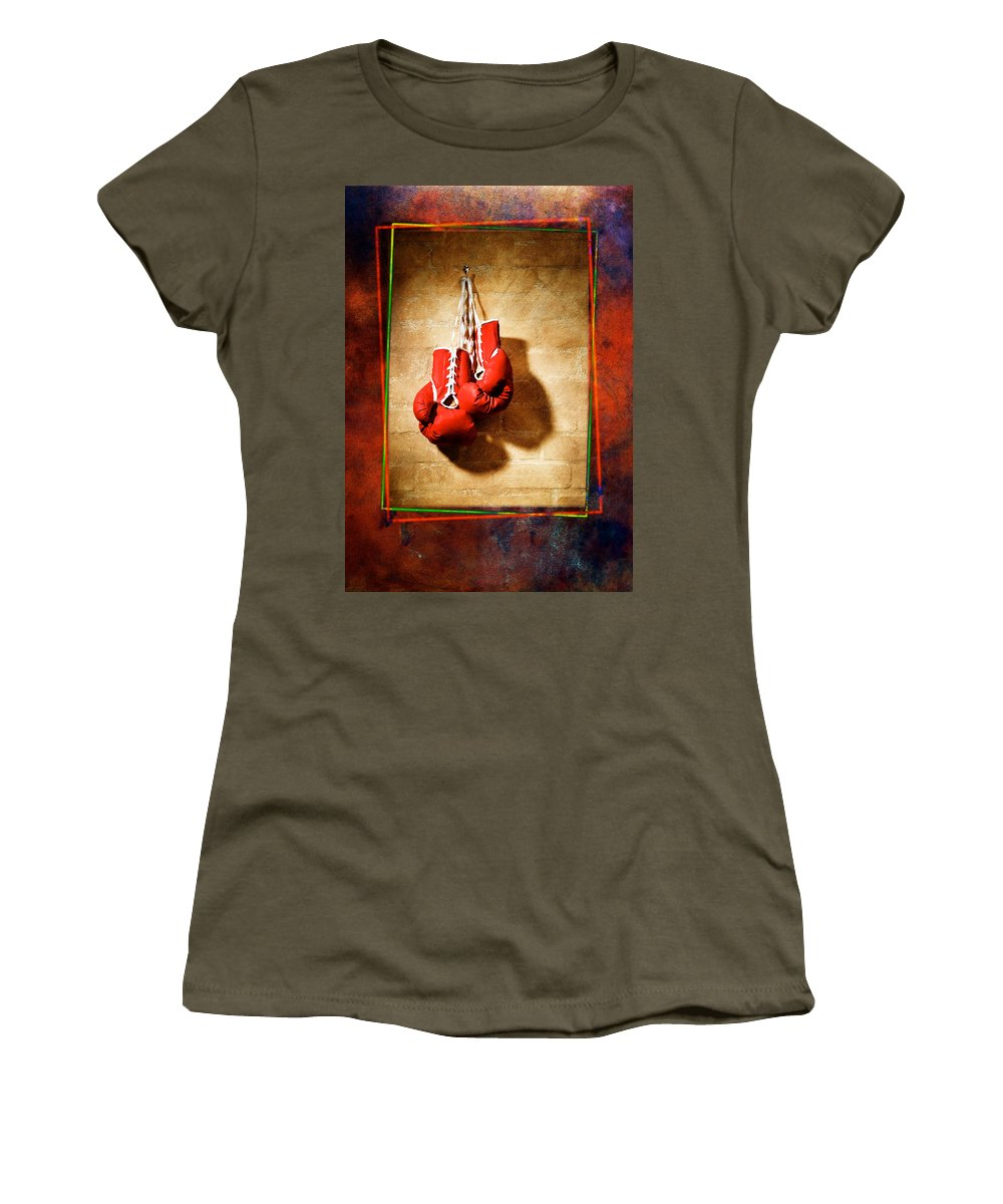 Gloves Women's T-Shirt featuring the pyrography Boxing by Mauro Celotti